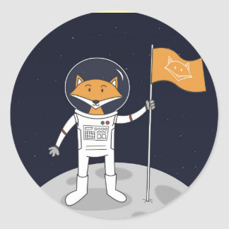 O Fox na lua Adesivo Redondo