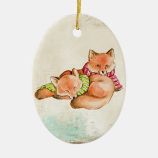 O Fox Snuggles o ornamento