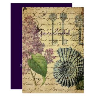 O francês fecha Lilacs modernos do francês do Convite 12.7 X 17.78cm