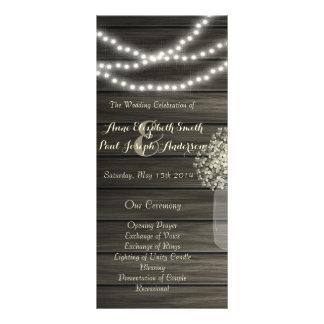 O frasco de pedreiro ilumina o programa do casamen 10.16 x 22.86cm panfleto