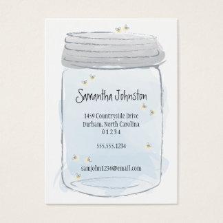 O frasco & os vaga-lume azuis de pedreiro salvar a cartão de visitas