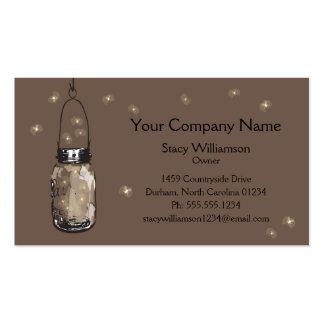 O frasco & os vaga-lume de pedreiro do vintage sal cartão de visita