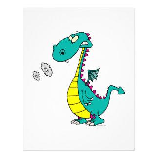 o fumo de sopro do dragão bonito soa desenhos anim panfleto personalizado