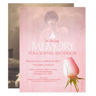 O funeral do rosa do rosa da foto da cerimonia convite 10.79 x 13.97cm