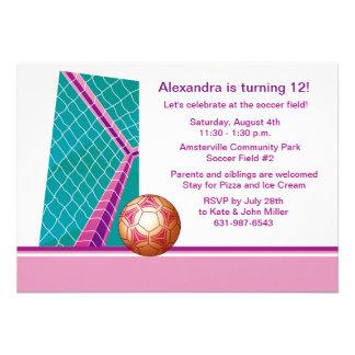 O futebol da menina - convite de aniversário