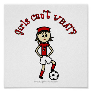 O futebol das mulheres claras no uniforme vermelho pôsteres