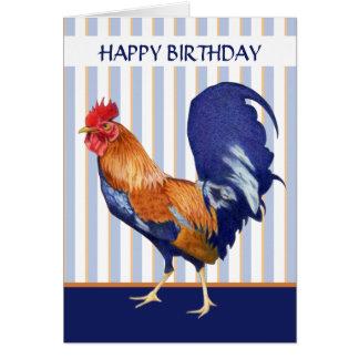 O galo listra o cartão do feliz aniversario