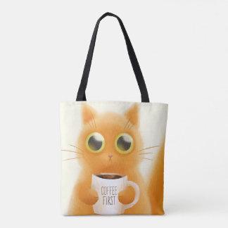 O gatinho bonito pintado mão com café coloca bolsa tote
