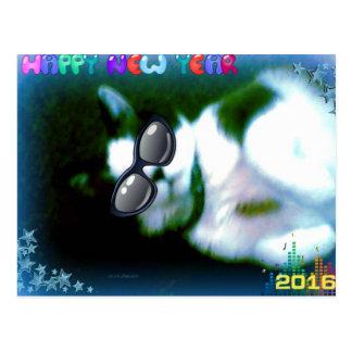 o gatinho do feliz ano novo do sapato de neve cartão postal