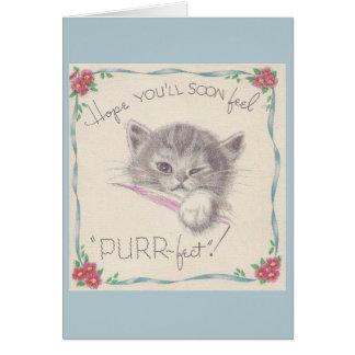 O gatinho do vintage obtem o cartão bom