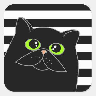 O gato curioso - preto com olhos verdes adesivo quadrado
