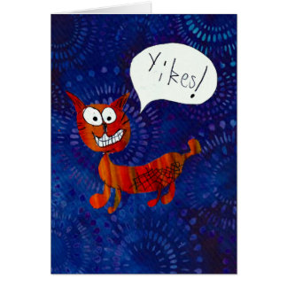 O gato de Scaredy diz YIKES! cartão