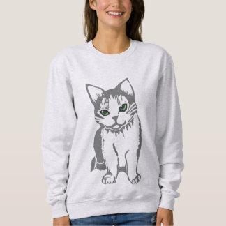 O gato do branco cinzento com jade Eyes a camisola Moletom