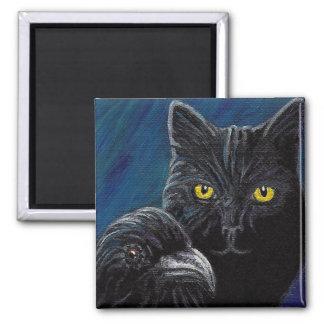 O gato do ponto de entrada & o ímã do corvo ímã quadrado