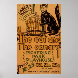 O gato e o poster 1940 amarelo de WPA do vintage