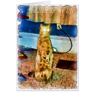 O gato elétrico cartão de nota