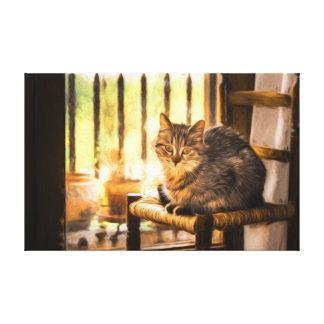 O gato senta canvas impressão de canvas envolvidas