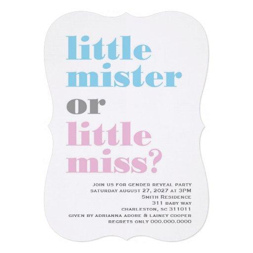 O género 311 revela o senhor pequeno Pequeno senho Convites Personalizados