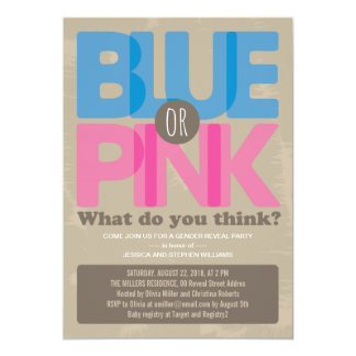 O género azul ou cor-de-rosa do bebê revela o convites personalizados