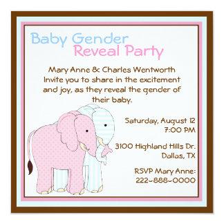 O género bonito do bebê dos elefantes revela o convite quadrado 13.35 x 13.35cm