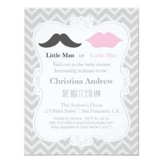 O género cinzento do Moustache e dos lábios revela Convite 10.79 X 13.97cm