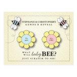 O género da abelha do bebê revela o cartão do jogo cartoes postais