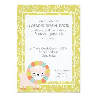O género do leão do bebê revela convites de festas