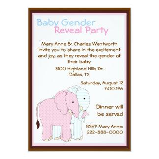 O género doce do bebê dos elefantes revela o convite 12.7 x 17.78cm