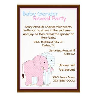 O género doce do bebê dos elefantes revela o parti convite personalizado