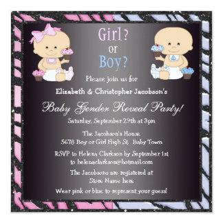 O género revela bebês & cupcakes dos desenhos convite personalizados