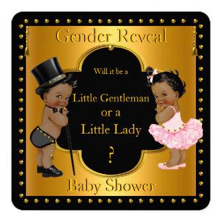 O género revela o menino ou a menina do chá de convite quadrado 13.35 x 13.35cm