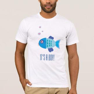 O género revela o partido - peixe do bebê azul - camiseta