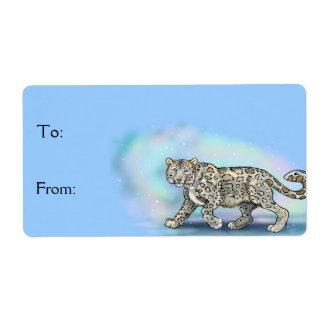 O ~Gift do leopardo de neve etiqueta etiquetas