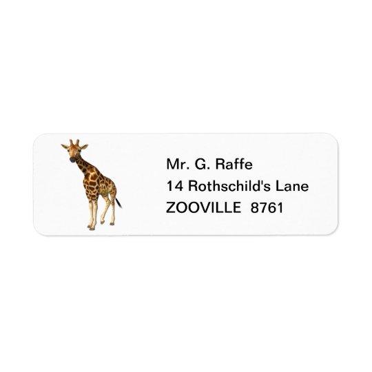 O girafa etiqueta endereço de retorno