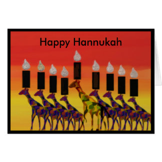 O girafa Hannukah ilumina cartões