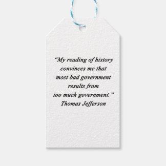 O governo mau - Thomas Jefferson Etiqueta Para Presente