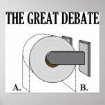 O grande debate do banheiro do papel higiénico impressão