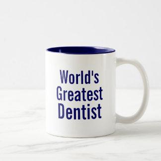 O grande dentista dos mundos caneca de café em dois tons