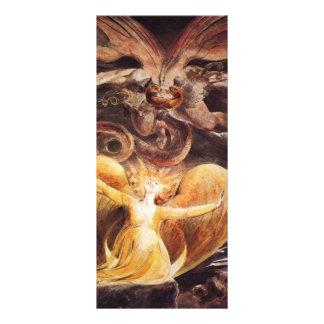 O grande dragão vermelho e a mulher vestidos 10.16 x 22.86cm panfleto