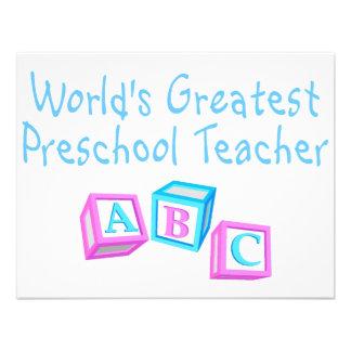O grande professor pré-escolar dos mundos convites