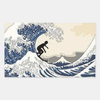 O grande surfista de Kanagawa Adesivo Retangular