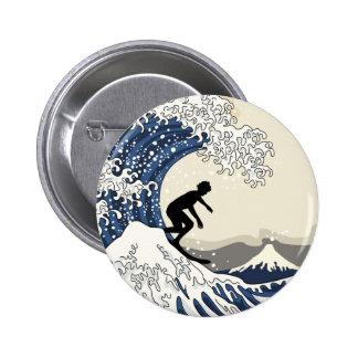 O grande surfista de Kanagawa Bóton Redondo 5.08cm
