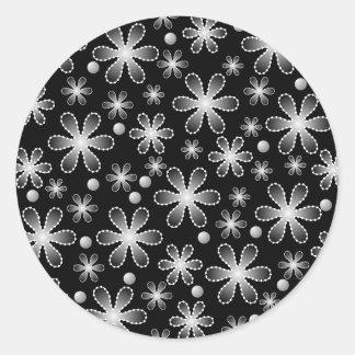 O grânulo preto e branco floresce a etiqueta adesivo