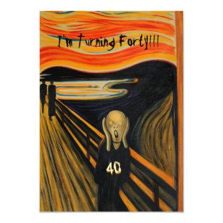 O gritar - aniversário de 40 anos engraçado convite 12.7 x 17.78cm