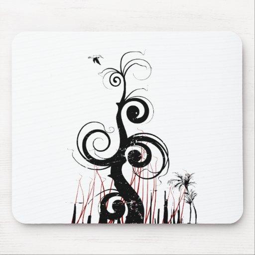 O Grunge preto roda com pássaro - vermelho Mouse Pads
