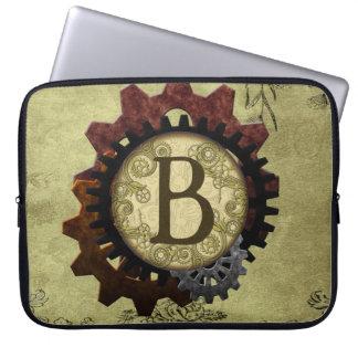 O Grunge Steampunk alinha a letra B do monograma Capas Para Laptop