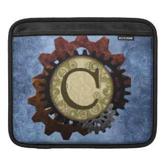 O Grunge Steampunk alinha a letra C do monograma Bolsa De iPad