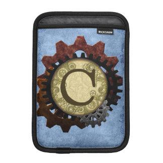 O Grunge Steampunk alinha a letra C do monograma Luvas iPad Mini