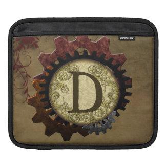 O Grunge Steampunk alinha a letra D do monograma Bolsa De iPad