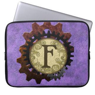 O Grunge Steampunk alinha a letra F do monograma Bolsa E Capa De Notebook